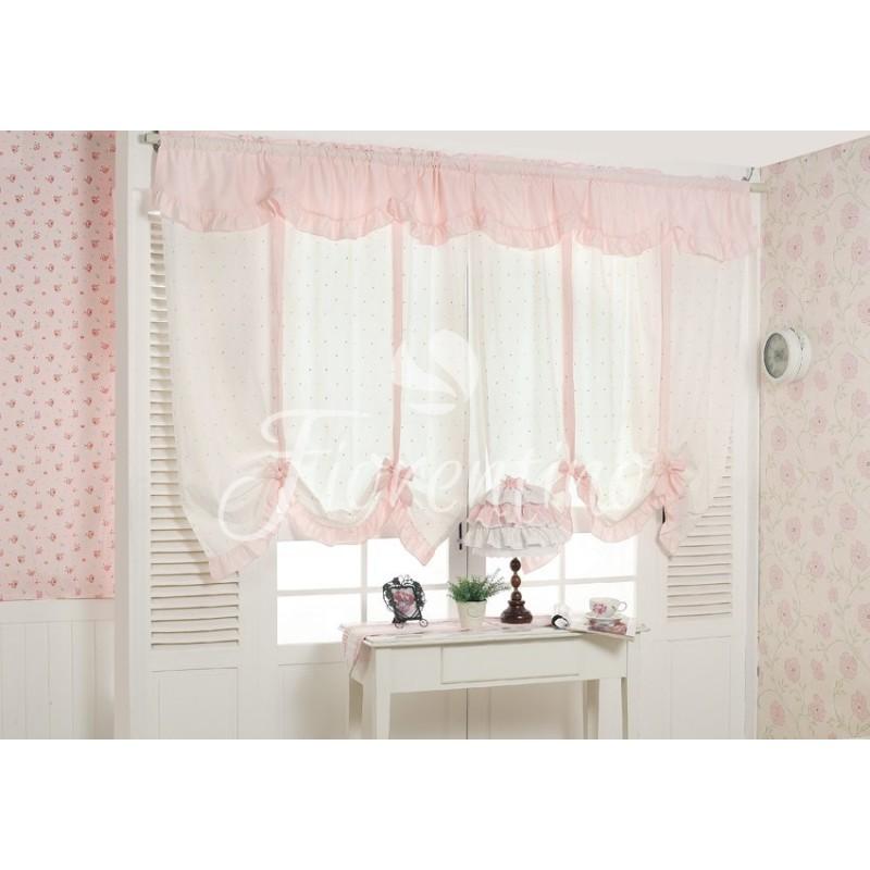 Bawełniane zasłony dla dziewczynki biało- różowe