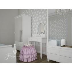 Biała toaletka Fiorentino Classic z regulowanym lustrem dla  dziewczynki. Idealna do pokoju nastolatki